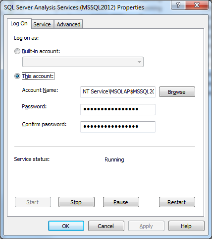 SSAS Configuration Log On Dialog