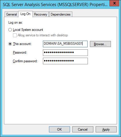 SSAS Service LogOn Edit